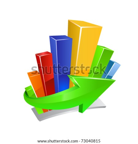 Business graph and green arrow icon. Vector - stock vector