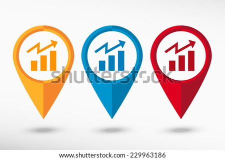 Business graph design element. Map pointer