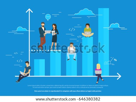 Business graph growth concept vector illustration of professional people working as team and sitting on blue growing chart. Flat people using laptops to develop business. Blue business background