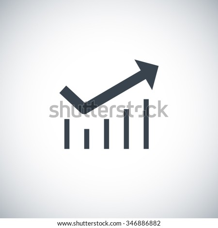 Business graph Icon Isolated on White Background. Trend with arrow going up. Vector icons for video, sites and print projects. Line vector icon for websites and mobile minimalistic flat design.