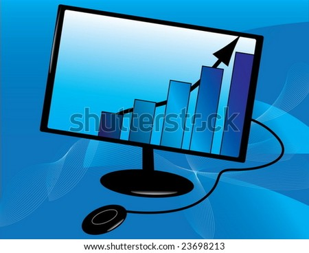 Business graph in a Lcd monitor concept