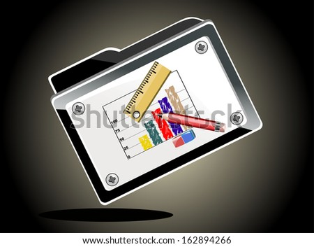 Business graph in folder - stock vector