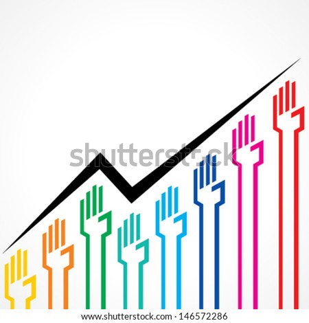 Business graph made by colorful hand icons stock vector - stock vector