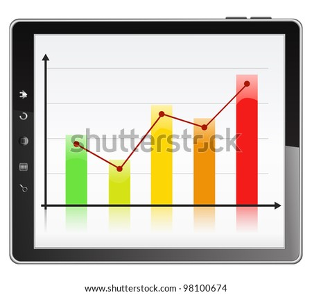 Business graph on the screen of Tablet PC, vector eps10 illustration - stock vector