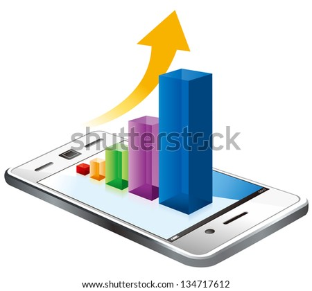 business graph on the screen vector - stock vector