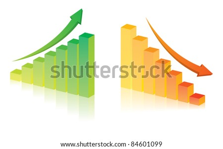 Business graph on white background - stock vector
