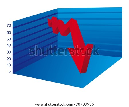 business graph with arrow down over white background. vector - stock vector