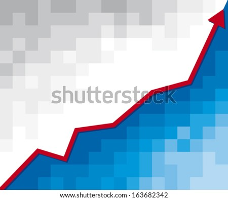 business graph with arrow (positive business graph) - stock vector