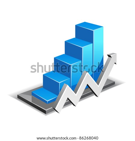 Business Graph with arrow showing profits and gains - stock vector