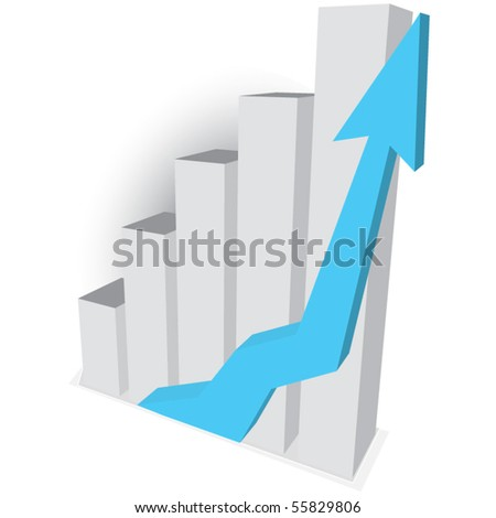 Business graph with blue arrow - stock vector