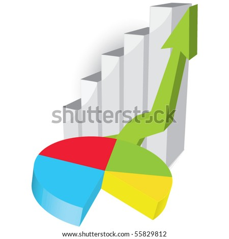 Business graph with green arrow and pie diagram - stock vector