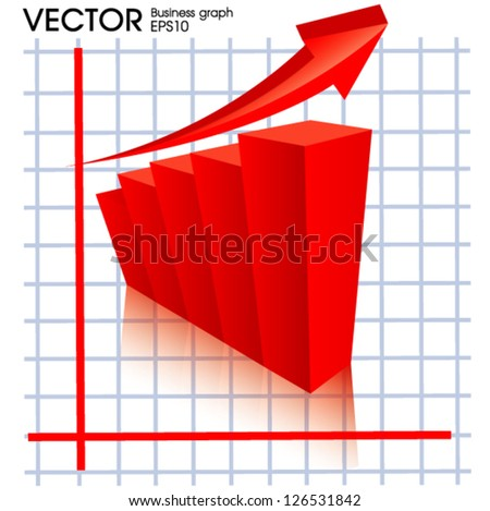 Business graph with growth up - stock vector