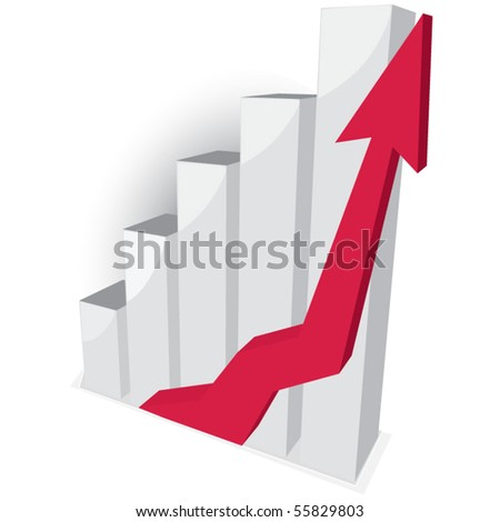 Business graph with red arrow - stock vector
