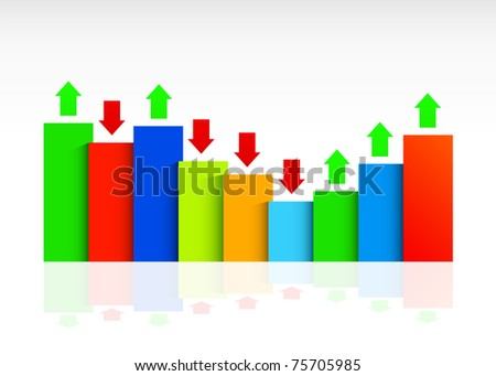 Business graph, with ups and downs. Easy to edit and change. - stock vector