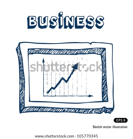 Business graphic and frame. Hand drawn sketch illustration isolated on white background