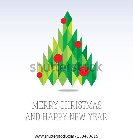 Business greeting christmas and New year card. Abstract triangle new year tree. Winter season 2014 - stock vector
