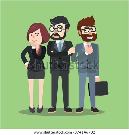 Business group flat cartoon illustration - stock vector