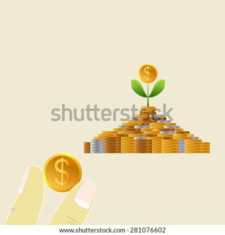 Business growing money concept. Dollar tree growing. Start Saving Money. Concept of global trade. Vector illustration - stock vector