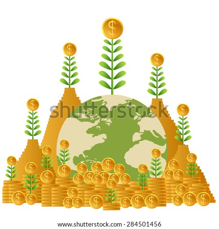 Business growing money concept. Plant growing on the pile of money. Concept of global trade. Vector illustration - stock vector