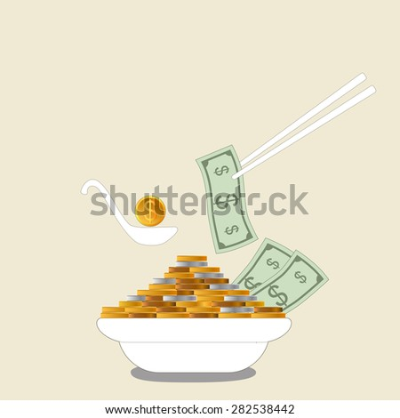 Business growing money concept. The pile of money in dish. Vector illustration - stock vector