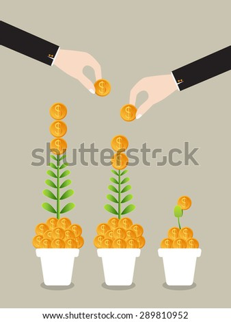 Business growing money concept. The pile of money in pot. Vector illustration - stock vector