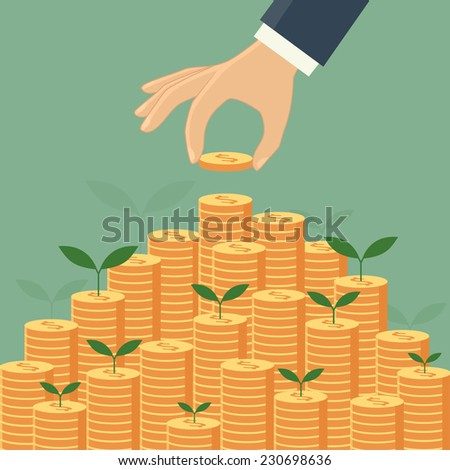 Business growing money concept. Vector illustration - stock vector