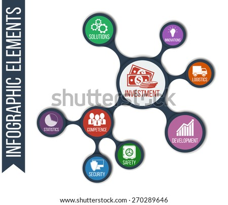 Business. Growth abstract background with connected metaball and integrated icons for development, competence, security, solutions, innovations, investment, logistics, safety. Infographic illustration - stock vector