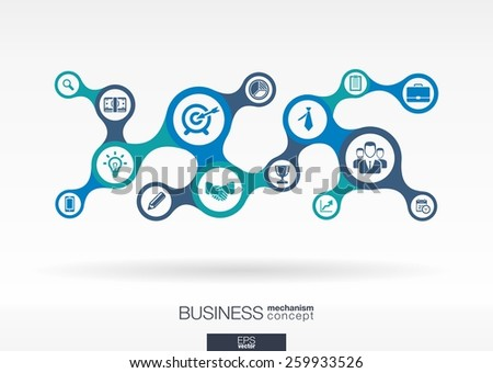 Business. Growth abstract background with connected metaball and integrated icons for strategy, service, analytics, research, digital marketing, communicate concepts. Vector infographic illustration - stock vector