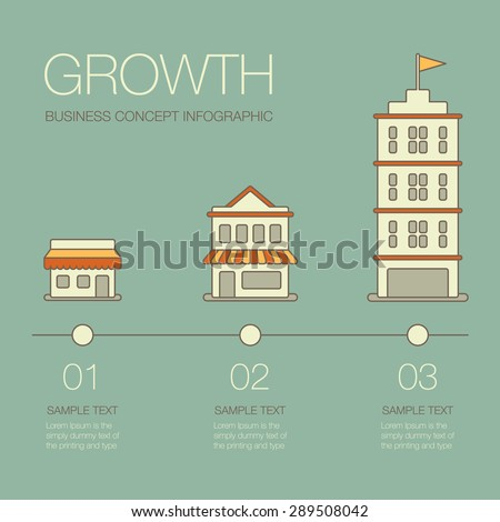 Business growth. Business infographics elements in modern flat style.  - stock vector