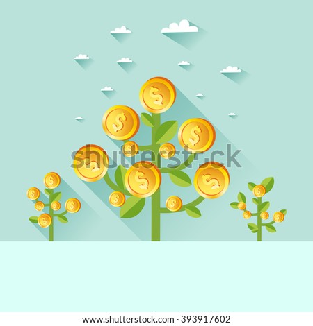 Business growth concept. Field of money dollar coin trees. Good for flyer, booklets, poster, reports, apps etc. Money harvest background. Vector colorful illustration in flat style - stock vector