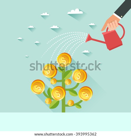 Business growth concept. Human hand with can watering money dollar coin tree. Vector colorful illustration in flat style