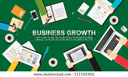 Business growth concept illustration. Flat design. Teamwork, meeting, analyze, and planning concept.  - stock vector