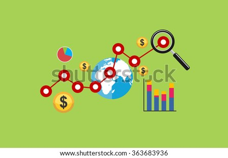 Business growth concept illustration. profit, investment, global economy.  - stock vector