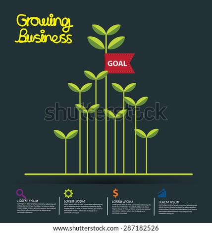 Business growth concept vector illustration. - stock vector