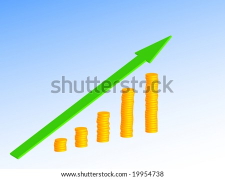 business growth diagram with green arrow and coin columns - stock vector