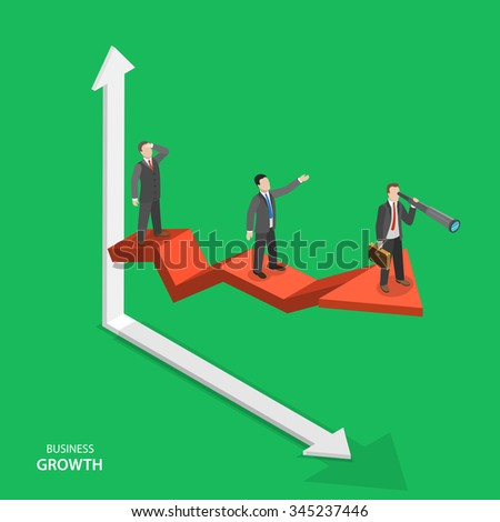 Business growth isometric vector concept. Team of businessmen are on arrow graph moving to success. Team work, leadership, way to success. - stock vector