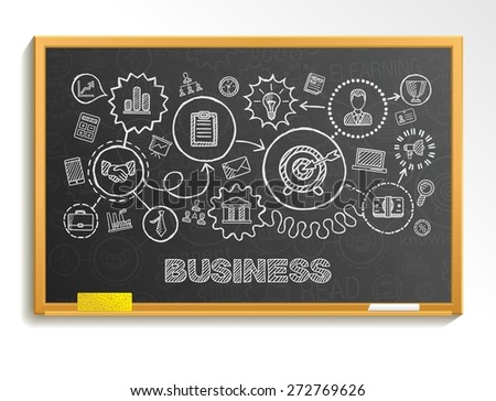 Business hand draw integrated icons set. Vector sketch infographic illustration. Line connected doodle pictograms on school board: strategy, mission, service, analytics, marketing, interactive concept - stock vector