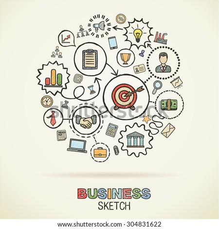 Business hand drawing integrated sketch icons. Vector doodle marketing pictogram set. Connected concept illustration on paper: finance, money, presentation, strategy, marketing, analytics, infographic - stock vector