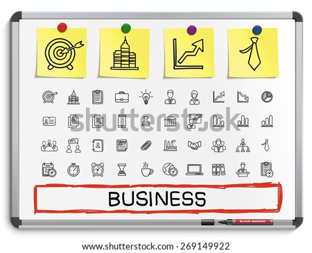 Business hand drawing line icons. Vector doodle pictogram set: sketch illustration on white marker board with paper stickers: finance, money, presentation, strategy, marketing, analytics, infographic. - stock vector