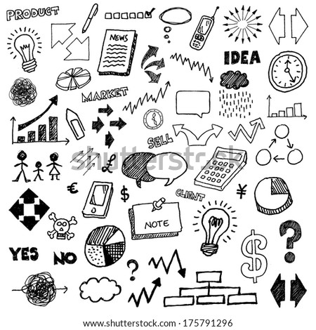 Business hand drawn doodles. - stock vector