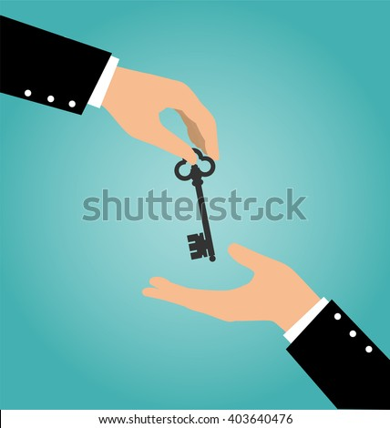 Business hand giving a house key to another hand, Buy Rental and Sell Concept - stock vector