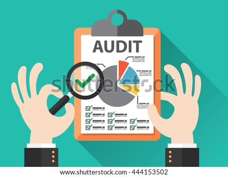 Business hand held magnifier on paperwork sheet, Audit concept. Vector illustration. Flat design - stock vector