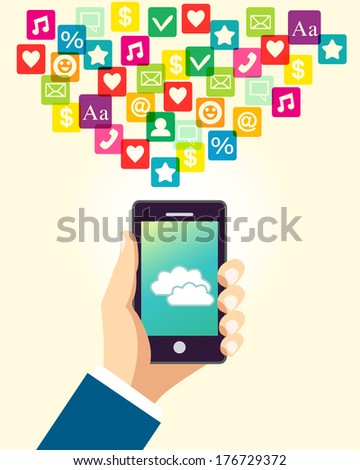 Business hand holding and using smartphone with cloud application and social media icons vector illustration