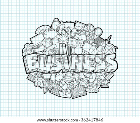 Business - Hand Lettering and Doodles Elements Sketch on Exercise book  page in square Background.