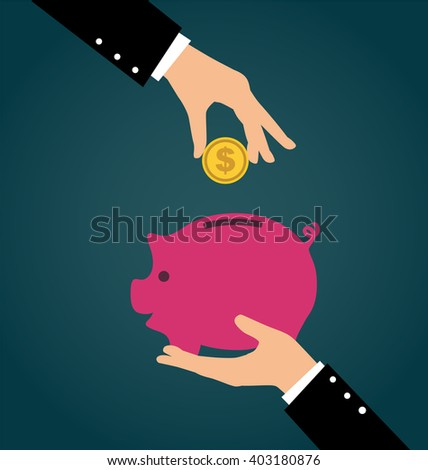 Business hand putting coin into a piggy bank, Saving and investing money concept - stock vector