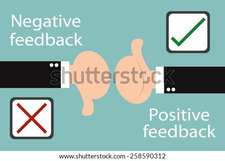 Business hand thumb up with true and false sign - positive and negative feedback concept. Minimal and flat design - stock vector