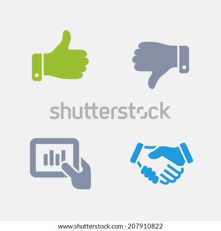 Business Hands Icons. Granite Series. Simple glyph style icons in 4 versions. The icons are designed at 32x32 pixels. - stock vector
