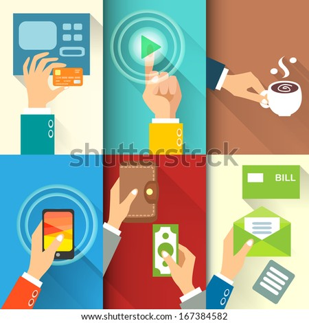 Business hands in action, pay, buy, transfer money vector illustration - stock vector