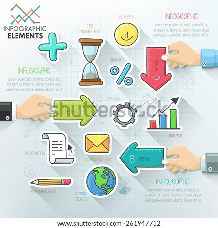 Business hands teamwork infographics template with hand drawn icons. Vector illustration. Can be used for workflow layout, banner, diagram, number options, step up options, web design, timeline. - stock vector