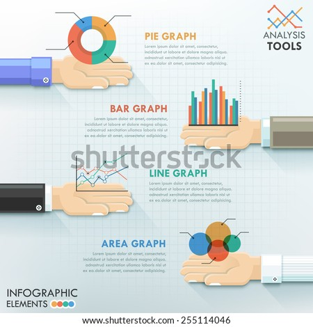 Business hands teamwork infographics template with hans holding charts. Vector illustration. Can be used for workflow layout, banner, diagram, number options, step up options, web design, timeline. - stock vector